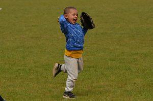 Teaching kids to catch a baseball